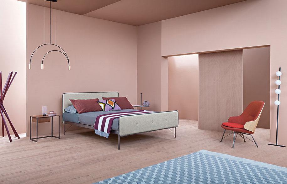 5.-Zanotta---New-Hotelroyal-Bed,-Taschino-Night-Table-and-Judy-Armchair